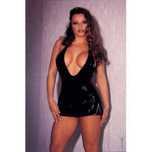 Латексное платье Erotic Mini Dress Black Small