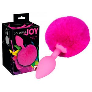 Анальная пробка - Colorful Joy Bunny Tail Plug