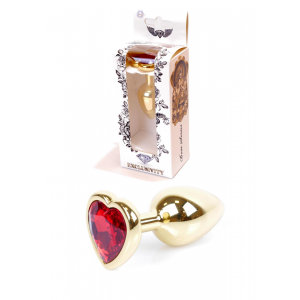 Анальная Пробка Plug-Jawellery Gold Heart PLUG- Red